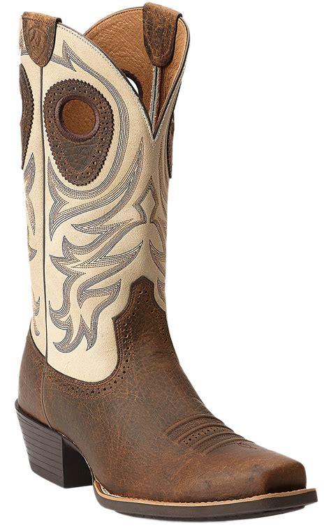 mens ariat square toe cowboy boots ariat 174 razorback s earth brown with top square