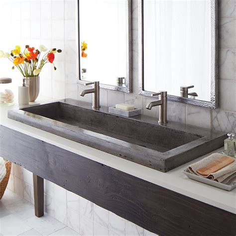 bathroom trough sinks trough 4819 double basin nativestone 174 bathroom sink