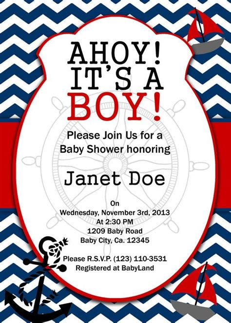 printable nautical invitation template printable invitation nautical baby shower invitation