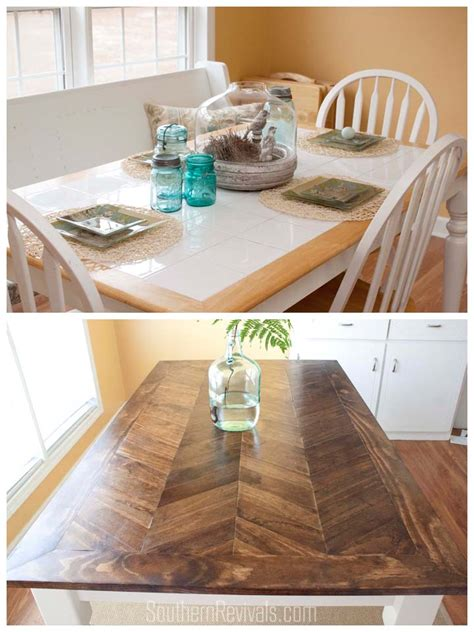 from tile top to herringbone table makeover diy wood