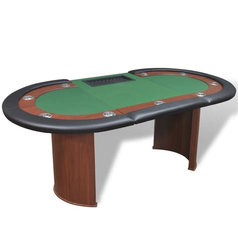 10 player poker with dealer area and chip tray green