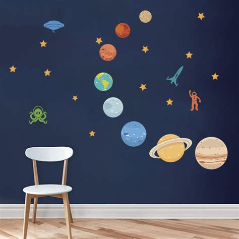 solar system room decalmile outer space wall decals planets rocket spaceship robot and astronaut