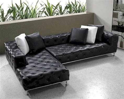Black Modern Tufted Leather Sectional Sofa Set 44l0687 Modern Black Sectional Sofa