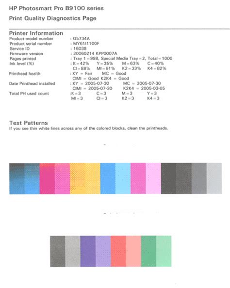 hp color test page hp print test page printer hp color