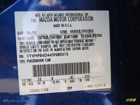 2004 mazda6 color code 25v for lapis blue metallic photo 72627905 gtcarlot