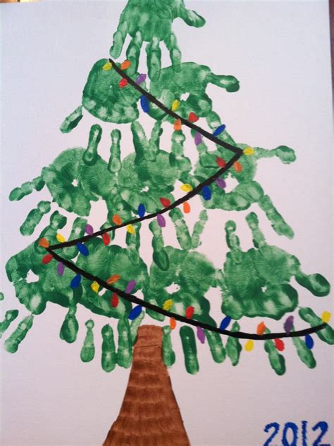 christmas tree handprints holidays pinterest