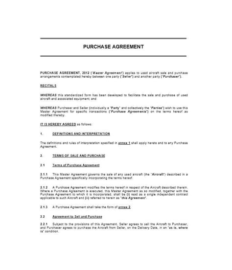 37 Simple Purchase Agreement Templates Real Estate Business Asset Purchase Agreement Simple Aircraft Lease Agreement Template