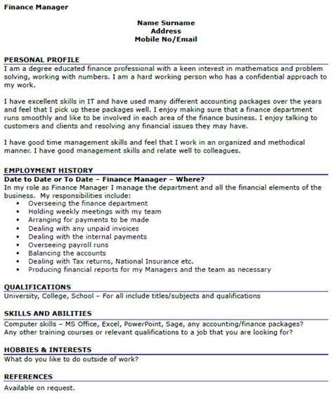 finance manager cv template finance manager cv exle icover org uk