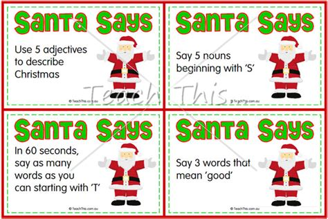 words to describe a christmas tree santa says resources worksheets and activities resources and