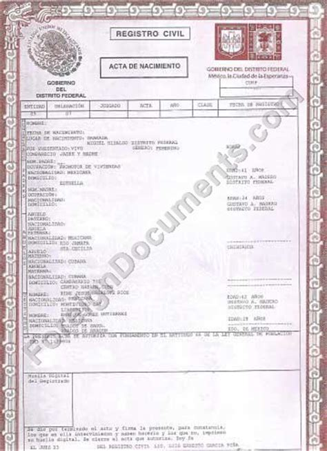mexican birth certificate template best photos of certificate templates