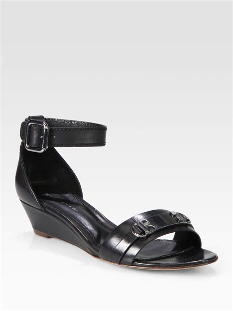 elie tahari gemma leather ankle wedge sandals in