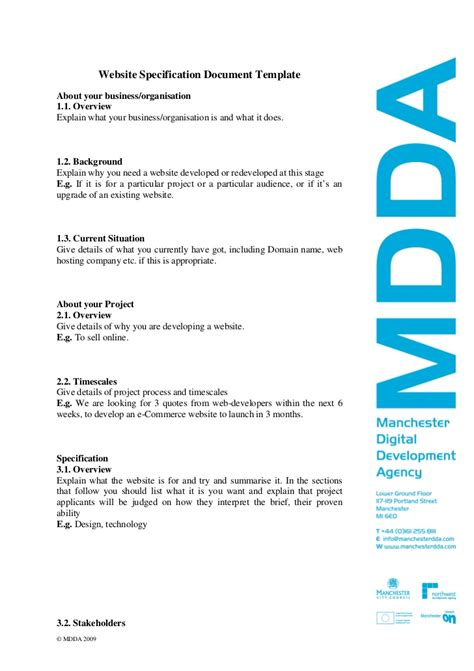 specification document template website specification template v2 feb 09