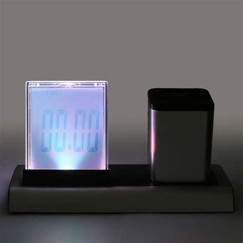 Color Change Desk Clock Temperatur Display With Pen Holder Jk 1898 Bla loskii dx 222 colorful black digital led desk alarm clock