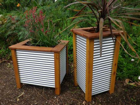 Corrugated Metal Fence Panels Mini Garden Large Three Corrugated Metal Planter Box