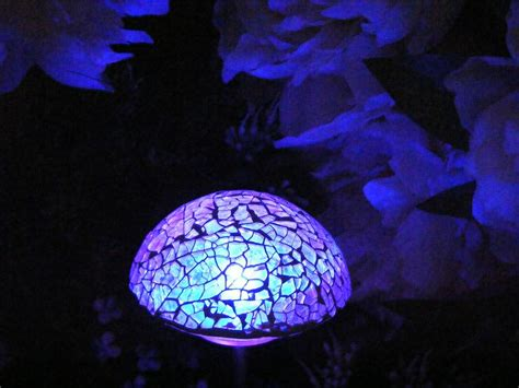 glass mushroom solar lights mosaic glitter glass mushroom color changing solar path