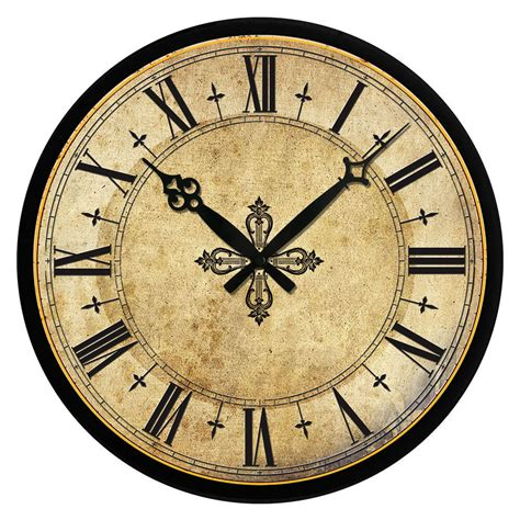 vintage wooden wall clock large shabby chic rustic kitchen home antique style ebay