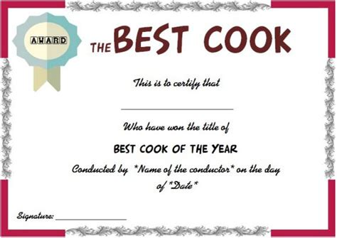 cooking certificate template certificate template baking gallery certificate design