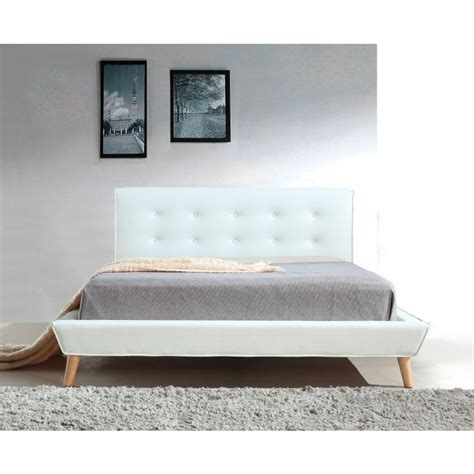 button bed frame button tufted pu leather bed frame in white buy