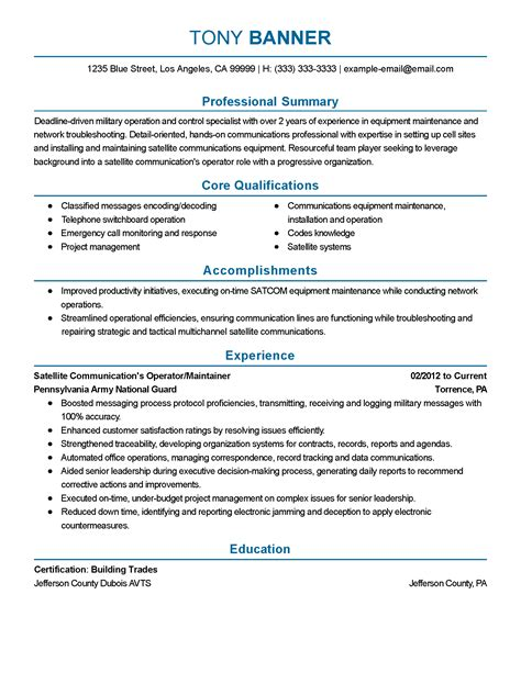 Communications Resume by Professional Satellite Communications Operator Templates