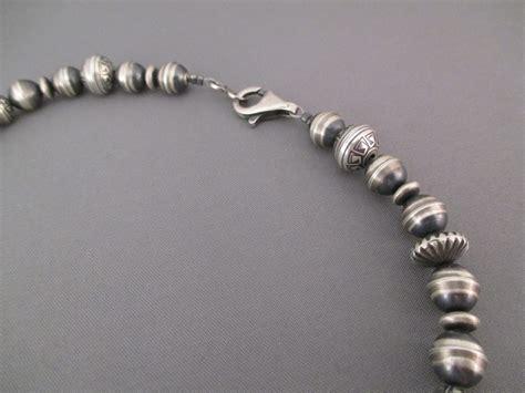 sterling silver concha bead necklace