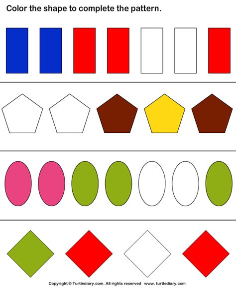 complete the pattern for kindergarten complete the shape pattern worksheet 4 turtle diary