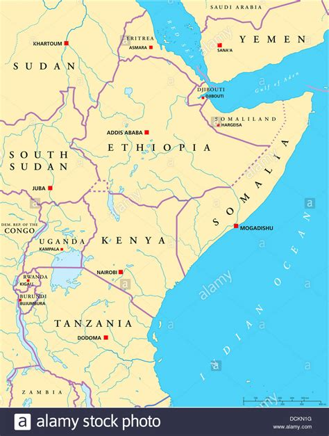east africa political map stock photo  alamy