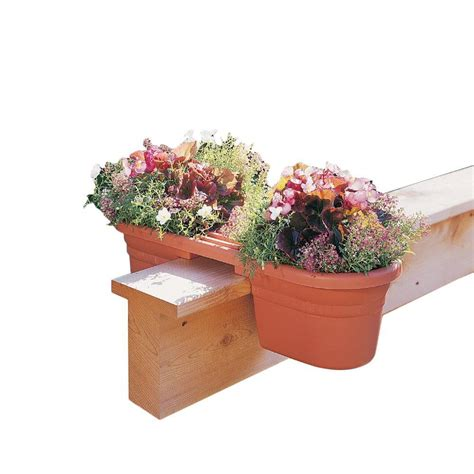 bloem 21 in terra cotta plastic rail planter