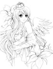 love angel anime coloring pages