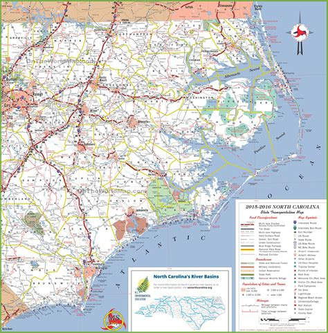 map world nc carolina coast map with beaches
