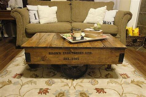 Diy Cart Coffee Table Diy Factory Cart Coffee Table Diy And Crafts Pinterest