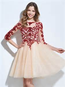 beautiful a line 3 4 sleeve lace applique homecoming