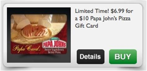 Papa Johns Gift Card - 10 papa john s pizza gift card for only 5 99 40 savings use with promotions and coupons