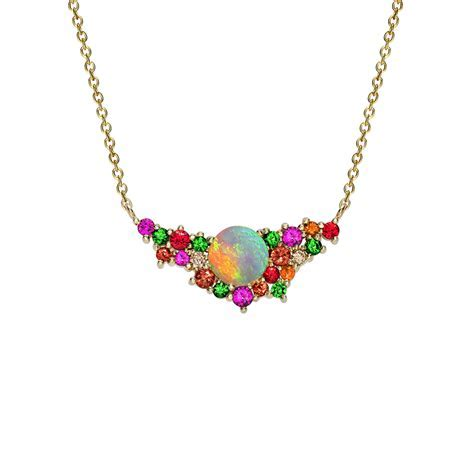 Yellow Gold Multi Gem Harlequin Necklace   London Road