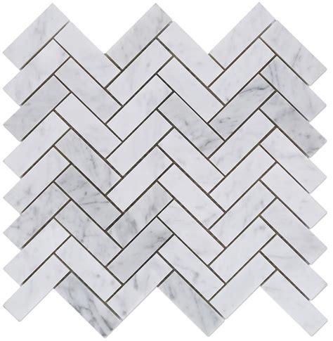carrara carrera bianco polished 1x3 herringbone marble