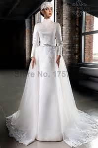 Modest a line long sleeves satin lace bridal gowns wedding dress 2016
