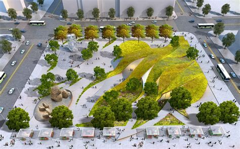 rolling green ribbons proposed for new urban park in downtown la urban park green ribbon
