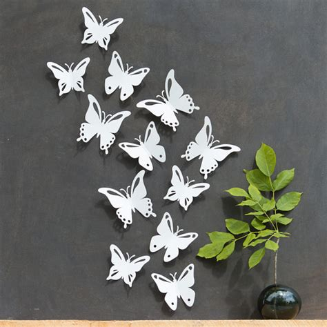 Butterfly Walldecor 40rb 3 white butterfly wall decor 3d set of 12 popart made in
