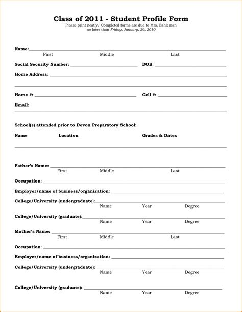 student biography card template form student profile form student profile form