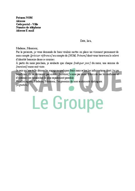 Lettre De Résiliation De Virement Permanent modele lettre resiliation virement permanent