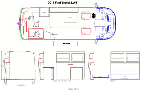 layout side view cargo van concept design cargo van conversion