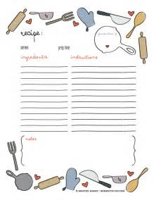 of giving free printable recipe page template