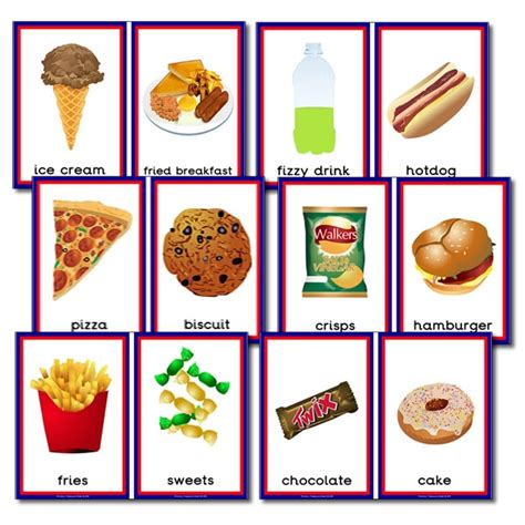 Food Gift Card - unhealthy foods sorting cards primary treasure chest