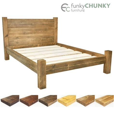 Wood Bed Frame With Headboard Bed Frame Chunky Solid Rustic Wood With Headboard And Storage Room All Sizes Ebay