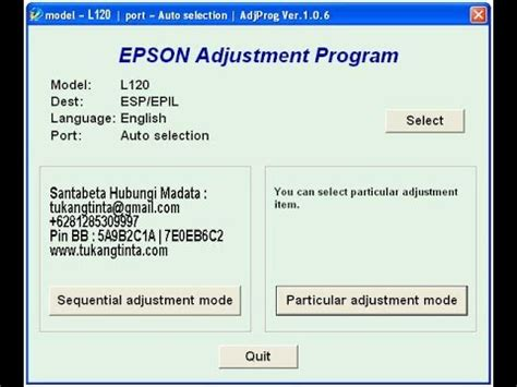 how to reset epson l120 resetter reset epson l120 6281285309997 youtube