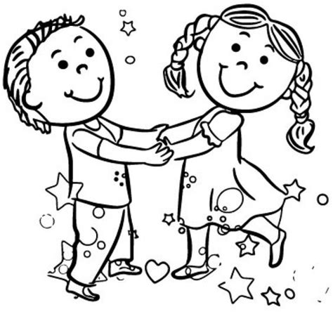 boy dance coloring page happy playing girl and boy dance coloring page free