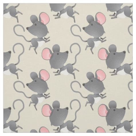 cute pattern material quiet as a mouse cute animal pattern fabric zazzle