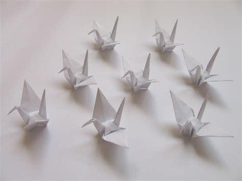 100 small white origami cranes origami