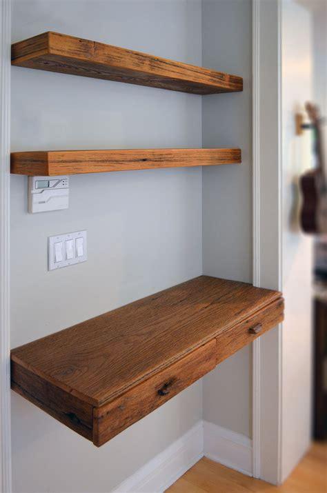 custom  reclaimed wood desk  shelvesconstruction