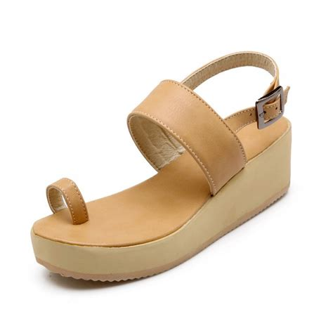 cheap fashion clip toe wedge mid heel apricot pu ankle