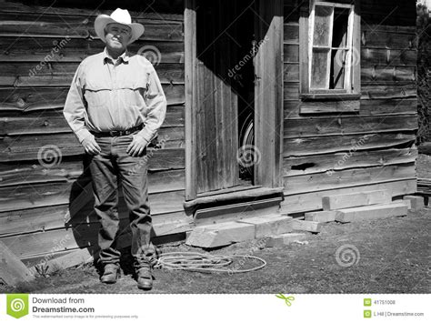 Plans For Building A Cabin old cowboy b w stock photo image 41751008